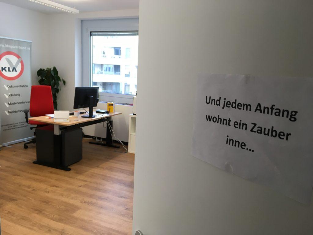Klagsverbands-Büro im Nordbahnviertel.